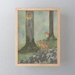 Foxes by Lamplight Framed Mini Art Print