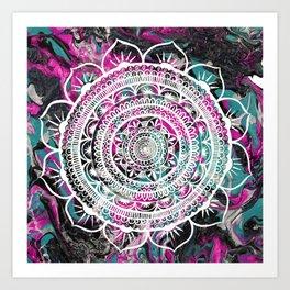 Lucid Liquid Acacia Raspberry Teal Art Print