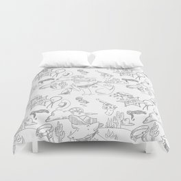 Cowboy Old West Dog Collage Duvet Cover