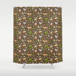woodland moths pattern Shower Curtain