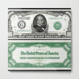 A Series 1928 Grover Cleveland $1,000 Federal Reserve Bank Note Metal Print