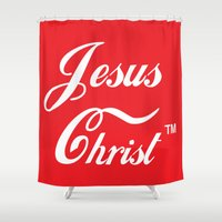 christ Shower Curtains featuring JESUS CHRIST by The Fugu Project