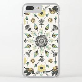 Blackbird Floral Mandala Clear iPhone Case