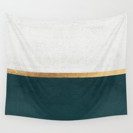 Deep Green, Gold and White Color Block Wall Tapestry