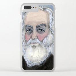 """Leaves of Walt"", Walt Whitman Literary Portrait Clear iPhone Case"