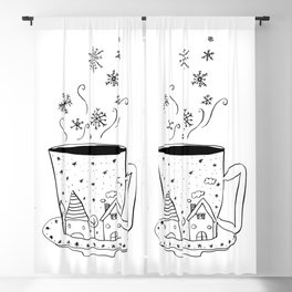 A cup of snow flakes Blackout Curtain