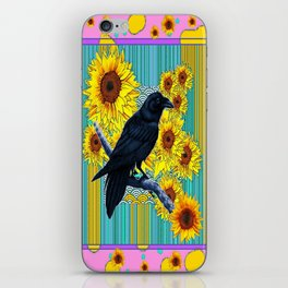 Abstract Sunflower Crow Pink-Blue Collage Art Design iPhone Skin