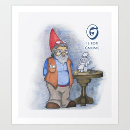 G is for Gnome Art Print
