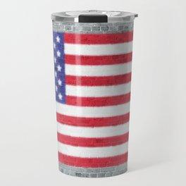 USA Flag Whitewashed Loft Apartment Brick Wall Travel Mug