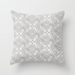 Silver grey lacey floral Throw Pillow