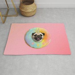 Unicorn Pug Pastel Donut Rug