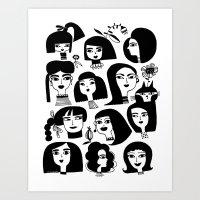 GIRLS AND ONE CAT Art Print