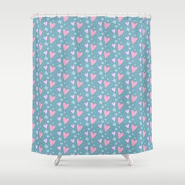 Abstract pink turquoise romantic hearts floral pattern Shower Curtain