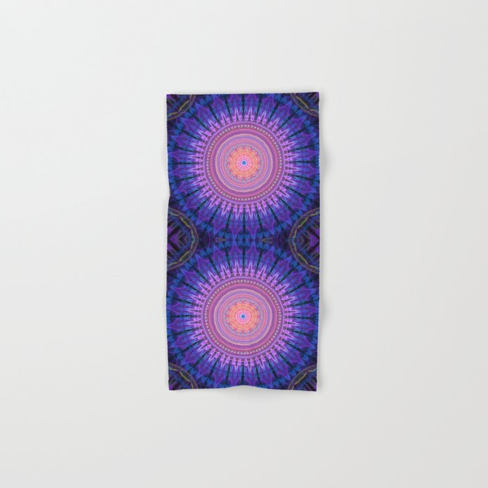 Scratchy mandala with tribal patterns and little flowers Hand & Bath Towel