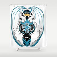 skyfall Shower Curtains featuring Skyfall Dragon by Pr0l0gue