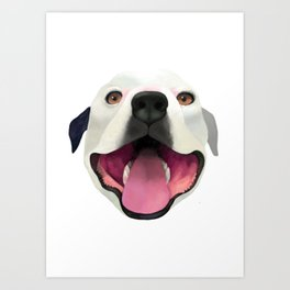 Bugle the Pit Bull Art Print