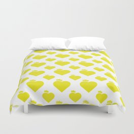 Crown Heart Pattern Yellow Duvet Cover