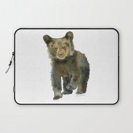 Black Bear Cub Watercolor Laptop Sleeve