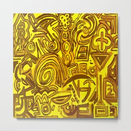 Yellow symbols Metal Print