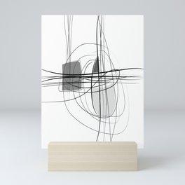 Black & White  Abstract Line drawings, Nordic wall home decor, Minimal geometric abstraction 2 Mini Art Print