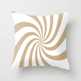 Spiral (Tan & White Pattern) Throw Pillow