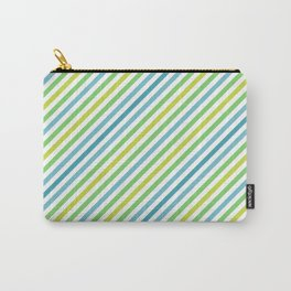 Blue & Green Geometric Striped Pattern Carry-All Pouch