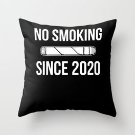 No Smoking Since 2020 Quitter Anniversary Support Throw Pillow