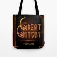 great gatsby Tote Bags featuring Gatsby by grrrenadine