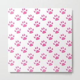 Pink cat paws pattern Metal Print