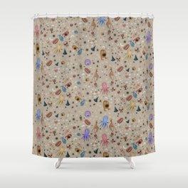 Dreams & Nightmares (on Khaki Beige Background)  Shower Curtain