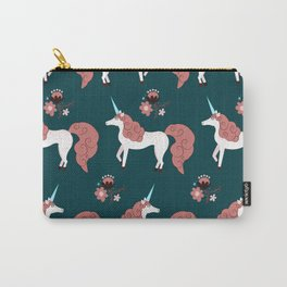 Modern Mare Party - Pink & Dark Green Carry-All Pouch