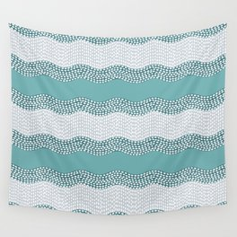 Wavy River in Teal IV Wall Tapestry