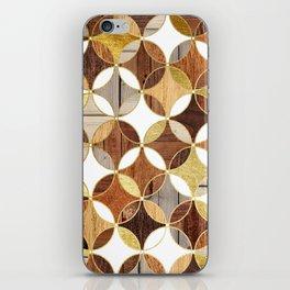 Wood and Gold Geometric iPhone Skin