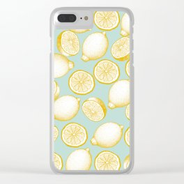 Lemons On Turquoise Background Clear iPhone Case