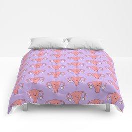 Patterned Happy Uterus in Purple Comforters