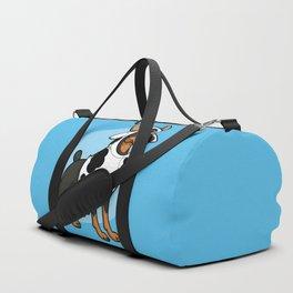 Doberman in a Cow Costume Duffle Bag