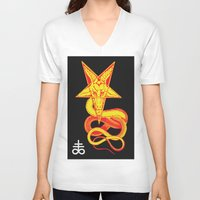pentagram V-neck T-shirts featuring Pentagram Goathead by T Alexander