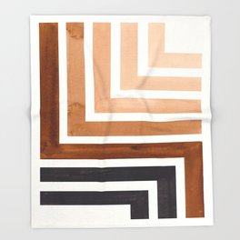 Raw Umber Mid Century Modern Watercolor Colorful Ancient Aztec Art Pattern Minimalist Geometric Patt Throw Blanket