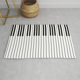 The Piano Black and White Keyboard Rug
