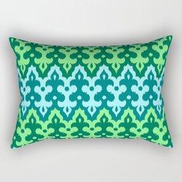 Moroccan Ikat Damask, Turquoise & Jade Green Rectangular Pillow
