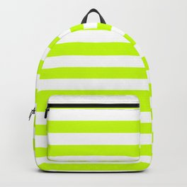 Narrow Horizontal Stripes - White and Fluorescent Yellow Backpack
