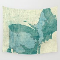 michigan Wall Tapestries featuring Michigan State Map Blue Vintage by City Art Posters
