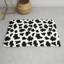 Spotted Moo Cow Dutch Holstein Animal Spots in Black and White Rug