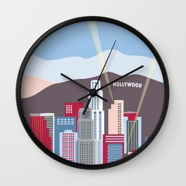 Los Angeles, California - Skyline Illustration by Loose Petals Wall Clock