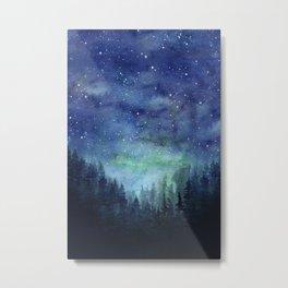 Watercolor Galaxy Nebula Northern Lights Painting Metal Print