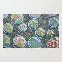 garfield Area & Throw Rugs featuring Many Worlds by The Visionary Art of Michael Garfield