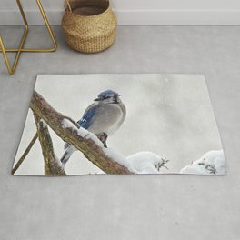 Puffed Feathers Blue Jay Rug