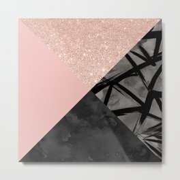 Modern pastel pink black strokes watercolor color block Metal Print