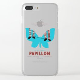 Papillon, Steve McQueen vintage movie poster, retrò playbill, Dustin Hoffman, hollywood film Clear iPhone Case