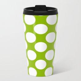 White & Apple Green Spring Polka Dot Pattern Metal Travel Mug